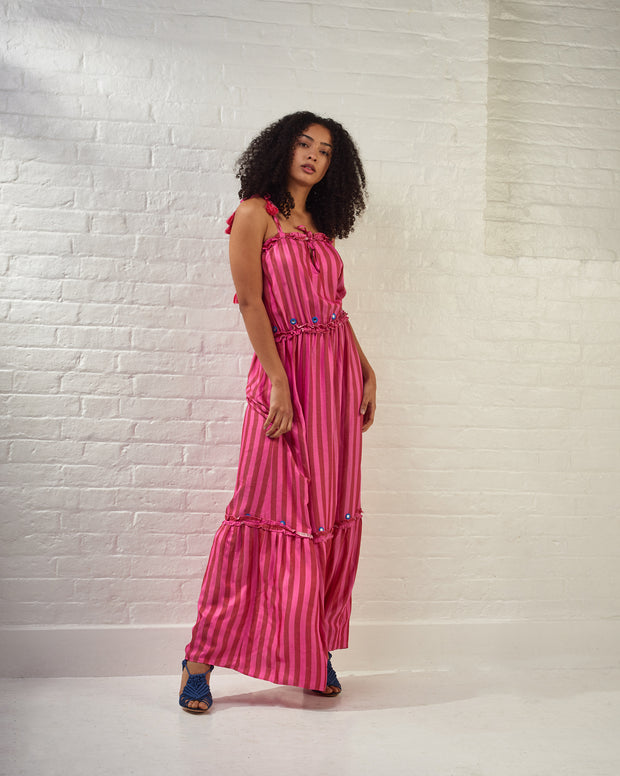 Pink Striped Embroidered Maxi Dress