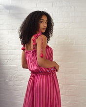 Load image into Gallery viewer, Pink Striped Embroidered Maxi Dress