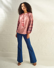 Load image into Gallery viewer, Red Striped Embroidered Blouse