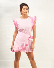 Load image into Gallery viewer, Pink Mini Dress with Tie Detail and Lace Trim
