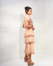 BATICHE | BLAIZ | Peach Striped Midi Skirt