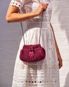 Burgundy Woven Shoulder Bag