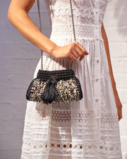 Black & Cream Crochet Cross-Body Bag