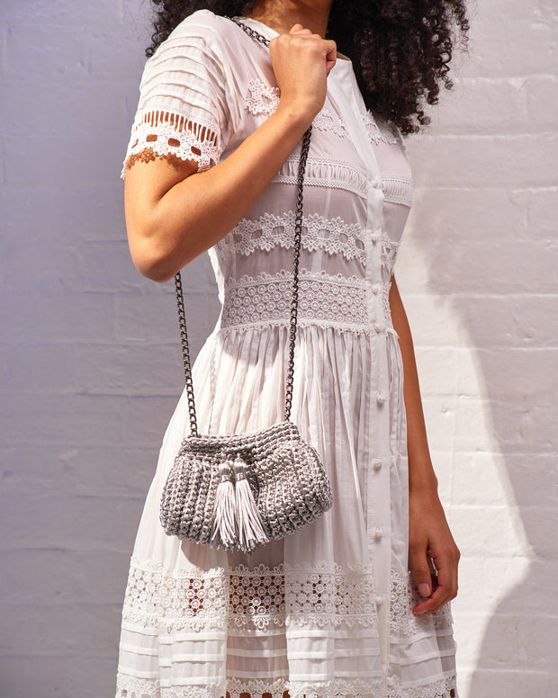 Silver Crochet Cross-Body Bag