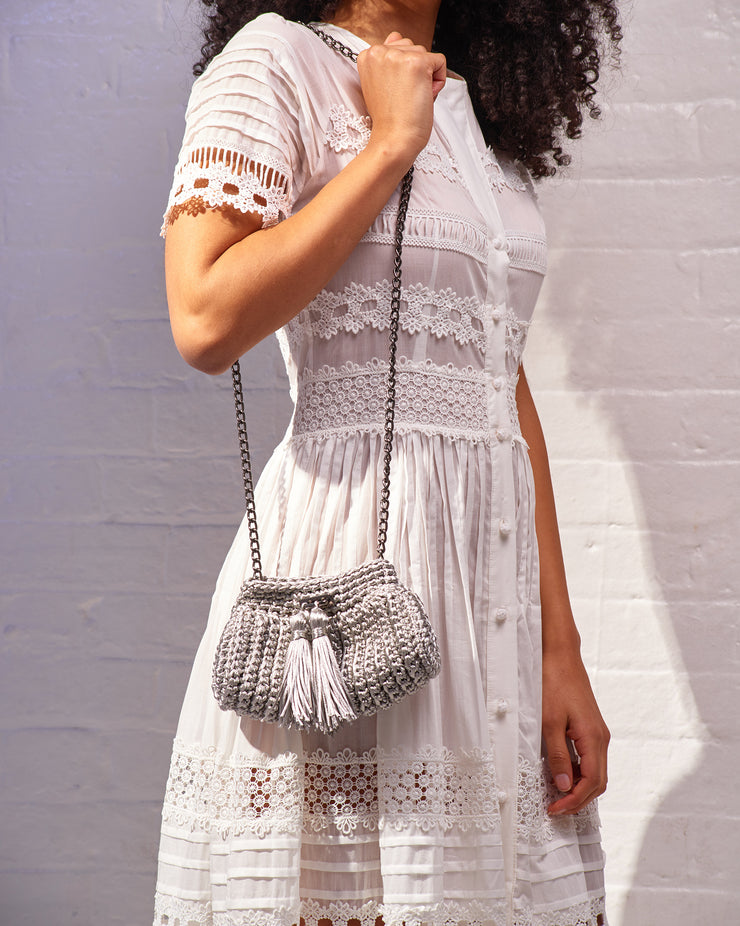 LA SPEZIA | BLAIZ | Silver Crochet Cross-Body Bag
