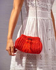 Red Crochet Cross-Body Bag