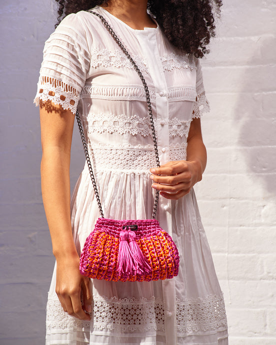 Pink & Orange Crochet Cross-Body Bag