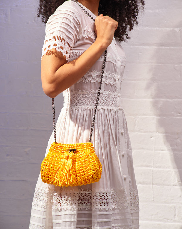 Yellow Crochet Cross-Body Bag