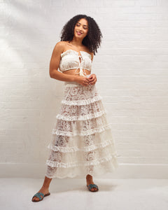 Ivory Marilyn Ruffle Lace Skirt