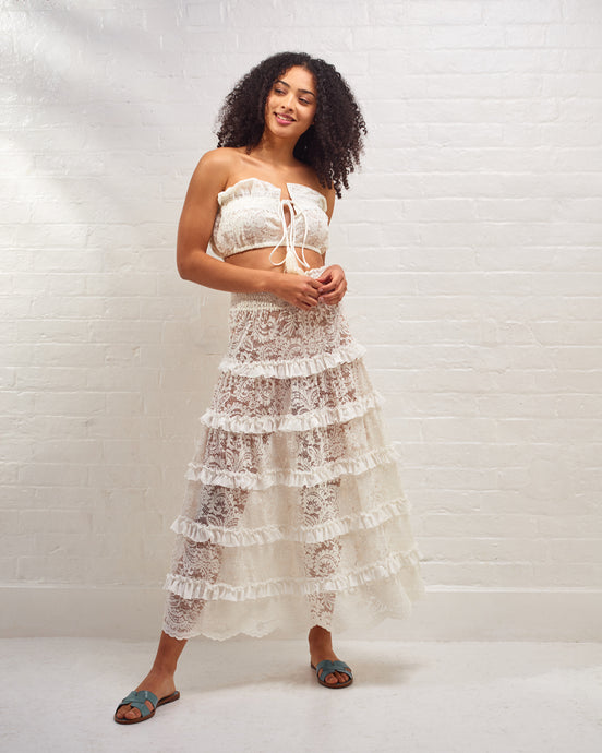 Ivory Marilyn Ruffle Lace Skirt Set