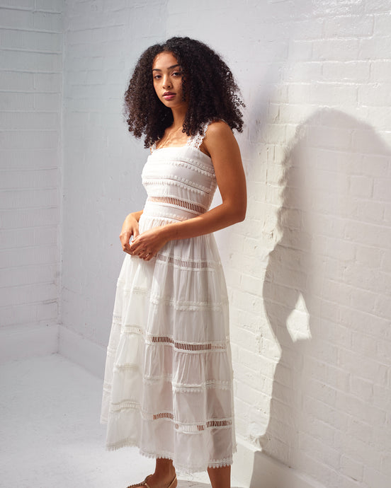 White Kate Crochet Maxi Dress