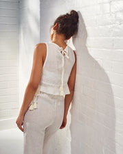 Zafiro White Linen Top