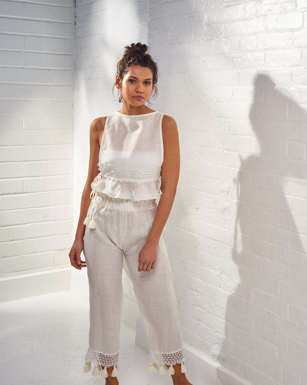Zafiro White Linen Trousers