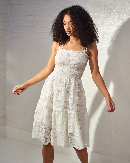 White Aqualine Lace Midi Dress