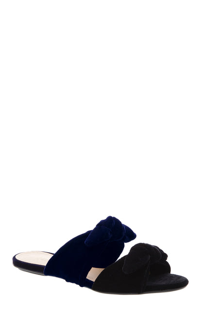 Black & Navy Velvet Bow Sandals