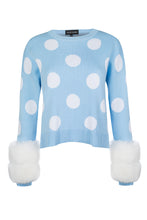 Load image into Gallery viewer, Blue Polka Dot Cuff Knit Sweater