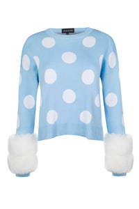 Blue Polka Dot Cuff Knit Sweater