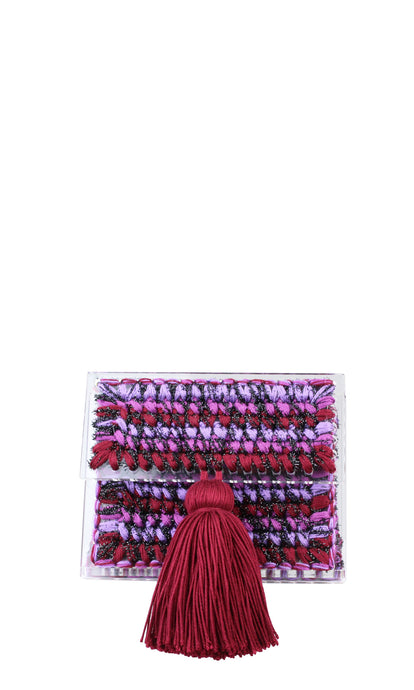 Burgundy & Purple Sparkly Knit Acrylic Clutch