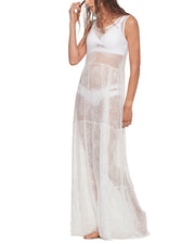 MALAI | BLAIZ | White Sheer Leaf Beach Dress