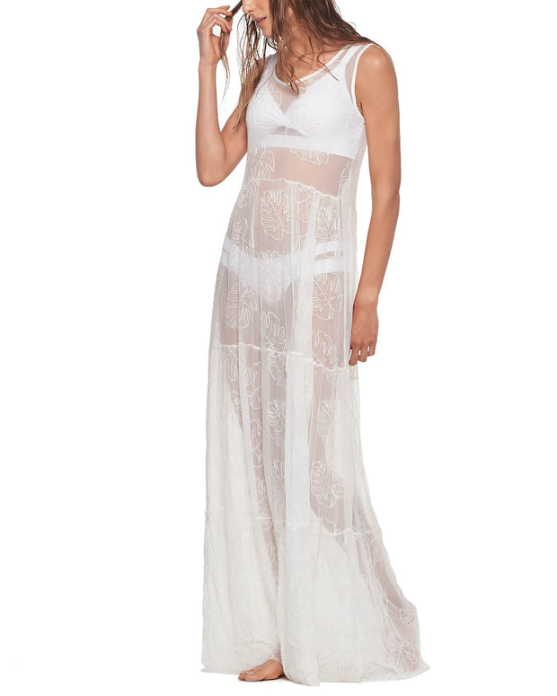 White Sheer Leaf Beach Dress