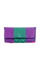 Load image into Gallery viewer, Fuchsia, Blue, Green & Gold Clutch Bag