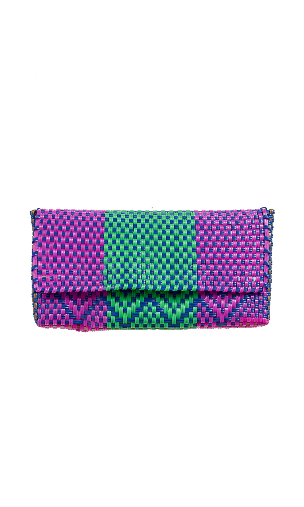 Fuchsia, Blue, Green & Gold Clutch Bag