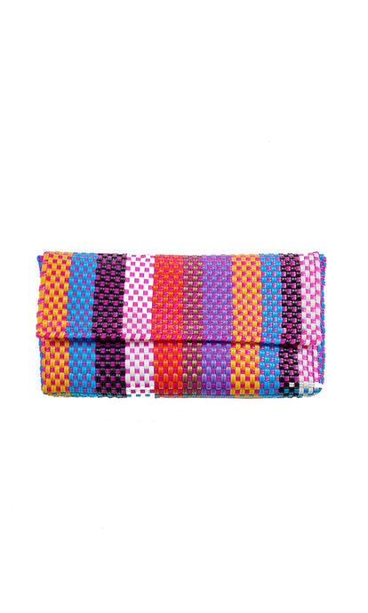 Multi Coloured Striped Clutch Bag