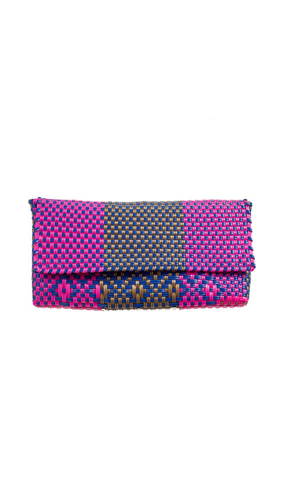 Cobalt Blue, Gold & Fushia Clutch Bag