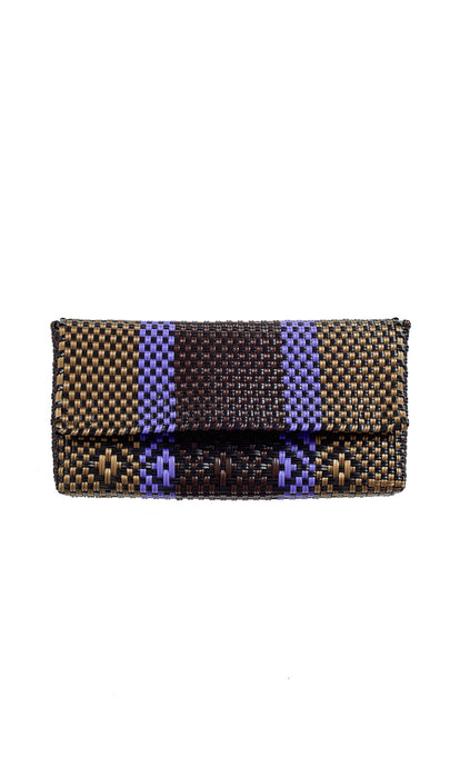 Gold, Lavender, Brown & Black Clutch Bag