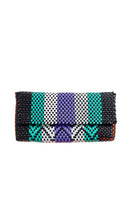 Load image into Gallery viewer, Black, Mint, Lavender, White & Orange Clutch Bag