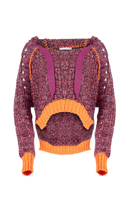 Burgundy & Orange Sofia Cropped Knit Hoodie