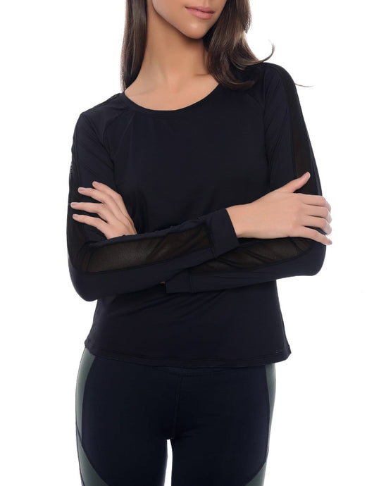 Black Long Sleeved T-Shirt with Mesh Detail