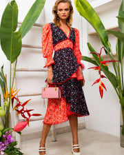 BLAIZ | CELIA B | CeliaB designer, Florentina dress, midi tiered dress, layered dress, printed dress, puff sleeve dress, floral print