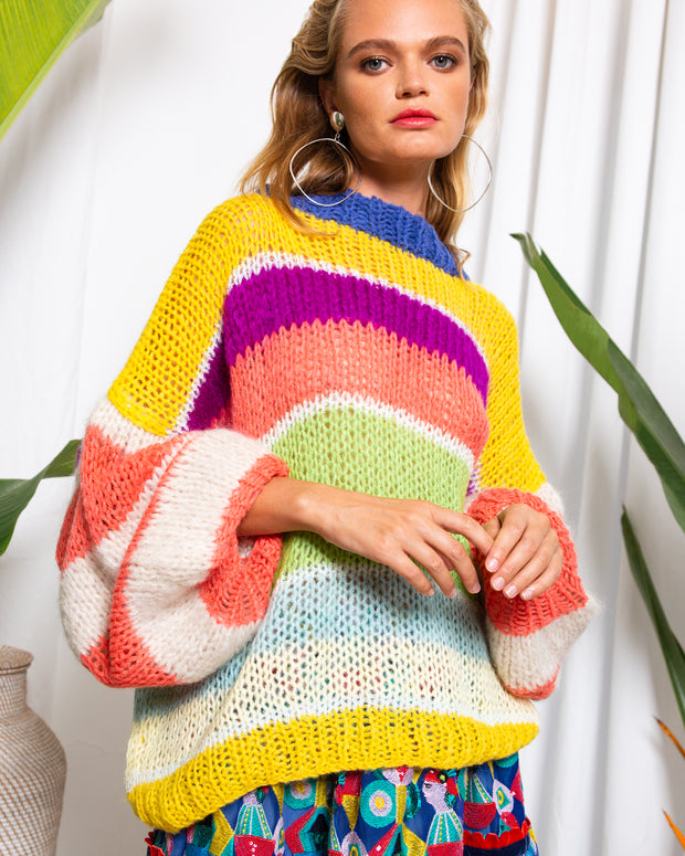 BLAIZ | CELIA B | CeliaB designer Maya Sweater, multi-coloured striped maxi sweater, maxi jumper,, hand knit mohair