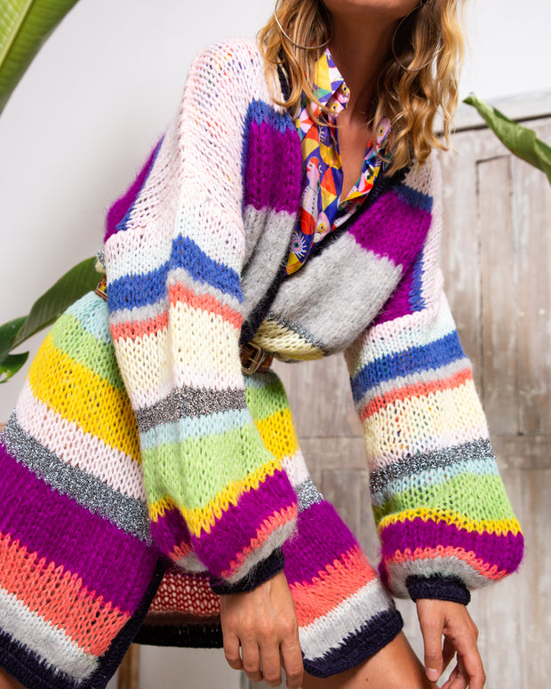 BLAIZ | CELIA B | CeliaB designer Adeline Cardigan, multi-coloured striped maxi cardigan, hand knit mohair