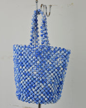 Load image into Gallery viewer, Blue Beaded Basket Bag