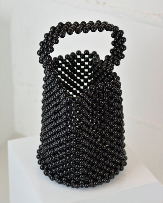 Black Beaded Basket Bag