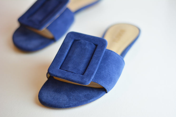 Navy Blue Suede Buckle Flats