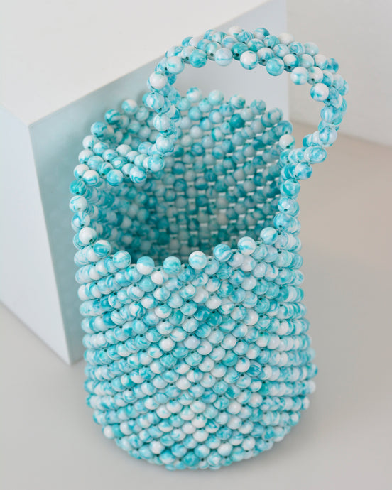 Turquoise Beaded Basket Bag