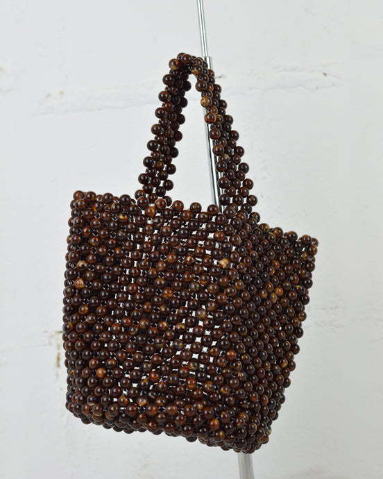 Brown Beaded Basket Bag
