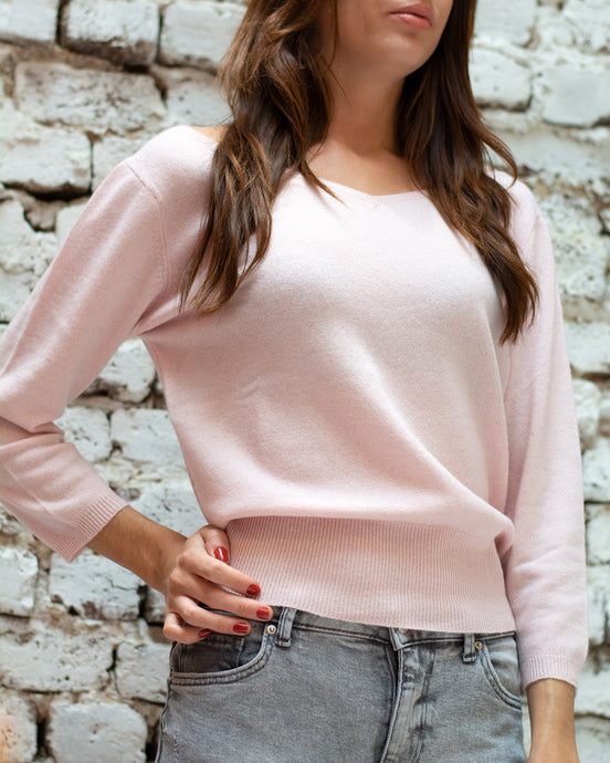 Pink Scoop V Neck Jumper
