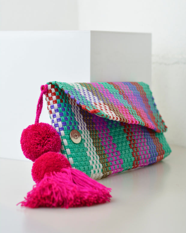 Multicolour Check Pom Pom Clutch
