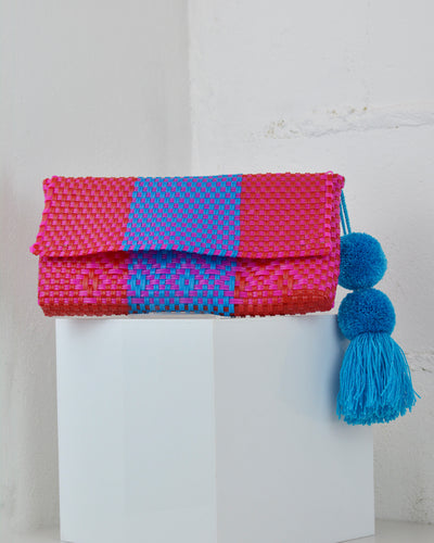 Blue & Red Pom Pom Clutch