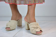 Load image into Gallery viewer, Beige Canvas High Heel Mules