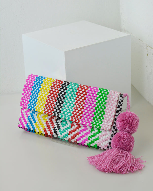 Rainbow Stripe Pom Pom Clutch