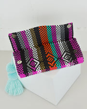 Multicolour Stripe Pom Pom Clutch