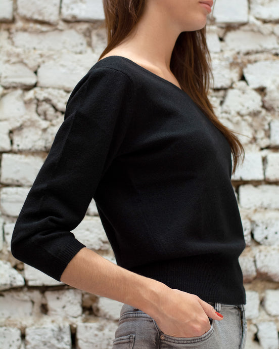 Black Scoop V Neck Jumper