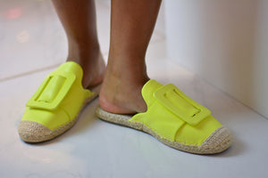 Neon Yellow Buckle Espadrilles