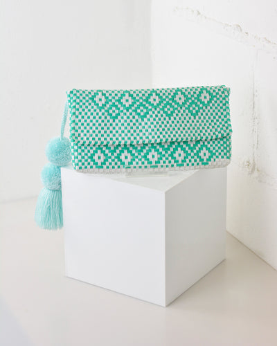 Mint Green Pom Pom Clutch