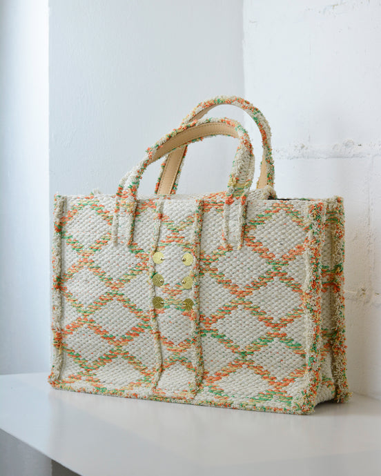 Beige Woven Tote Bag
